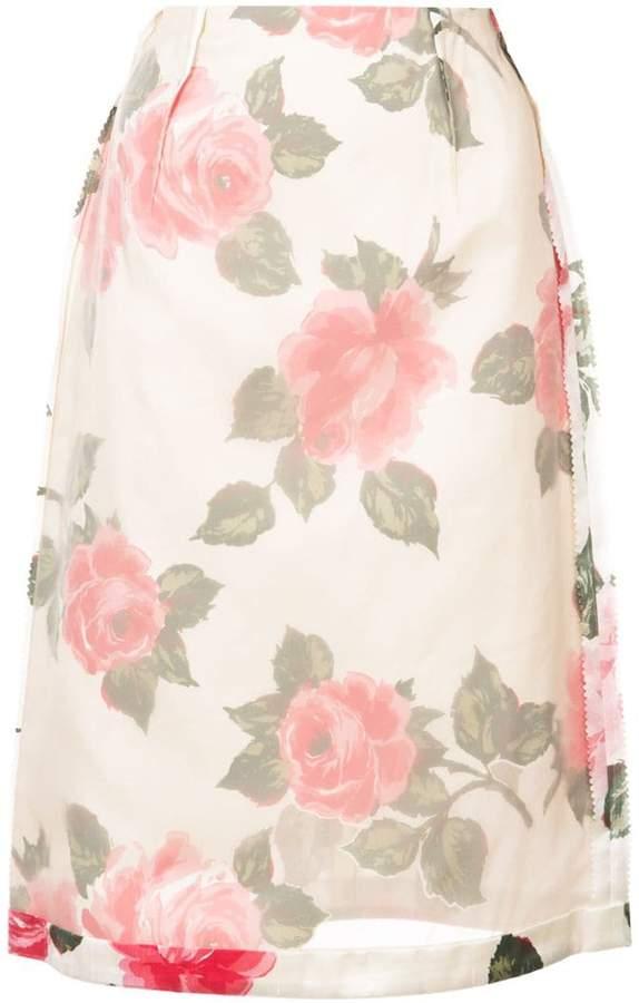 Maison Margiela inverted floral print skirt