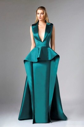 Divina by Edward Arsouni Sleeveless Satin Emerald Green Gown