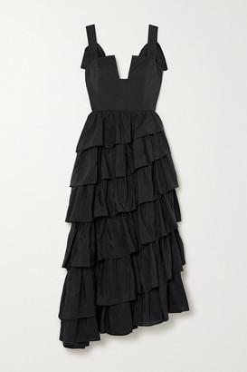 Ulla Johnson Valentina Ruffed Tiered Duchesse Silk-satin Midi Dress - Black