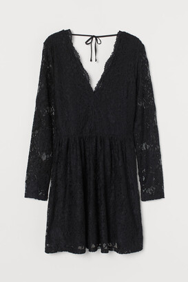 H&M Lace V-neck Dress - Black