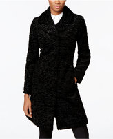 Jones New York Faux-Leather-Trim Textured Faux-Fur Walker Coat