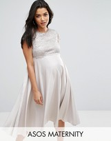 Asos Lace Metallic Crop Top Midi Skater Dress