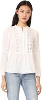 Rebecca Taylor Long Sleeve Gauze with Lace Top