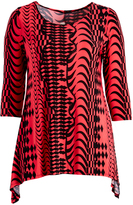 Glam Black & Red Abstract Sidetail Tunic - Plus