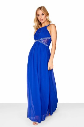 Little Mistress Cobalt Embellished Empire Maxi Dress