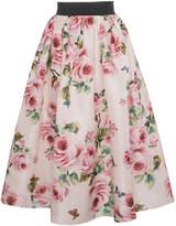 Dolce & Gabbana Silk Rose Print Full Skirt
