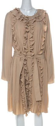 Chloé Beige Silk Blend Belted Front Ruffle Full Sleeve Pleated Long Dress L