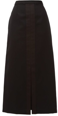 Jil Sander A-line Silk Satin-trim Wool Skirt - Black