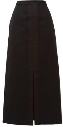 Jil Sander A-line Silk Satin-trim Wool Skirt - Womens - Black