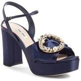 Miu Miu Women's Embellished Buckle Platform Sandal