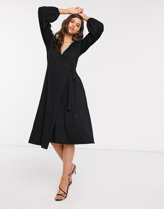 ASOS DESIGN midi dress with wrap front in black