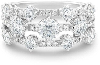 De Beers 18kt white gold Arpeggia diamond three row ring