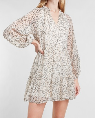 Express Animal Print Tiered Trapeze Dress