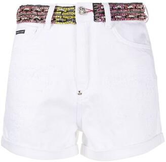 Philipp Plein Rhinestone-Embellished Denim Shorts