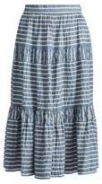 Ralph Lauren Seersucker Midi Skirt Blue/White Multi 8