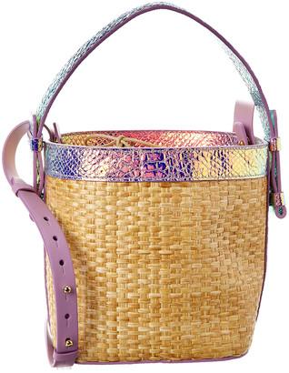 Nico Giani Adenia Large Straw & Croc-Embossed Leather Bucket Bag
