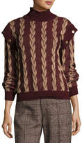 Marc Jacobs Layered-Sleeve Cable Wool Sweater