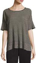 Eileen Fisher Half-Sleeve Linen Knit Striped Top, Natural/Black