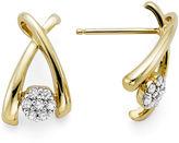 JCPenney FINE JEWELRY diamond blossom 1/10 CT. T.W. Diamond 10K Yellow Gold Wishbone Cluster Earrings