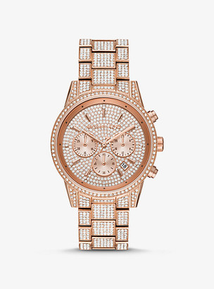 Michael Kors Ritz Pave Rose Gold-Tone Watch