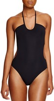 Tory Burch Solid Bandeau Cutout One Piece Swimsuit