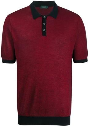 Zanone Two-Tone Pique Polo Shirt