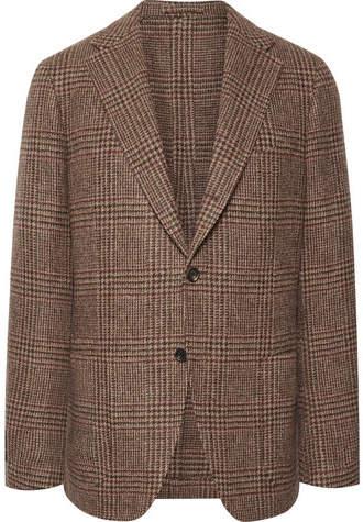 Drakes Drake's Light-Brown Slim-Fit Prince Of Wales Checked Wool-Tweed Blazer