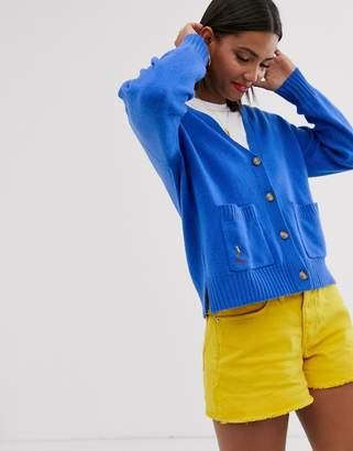Polo Ralph Lauren oversized wool cardigan with logo-Blue