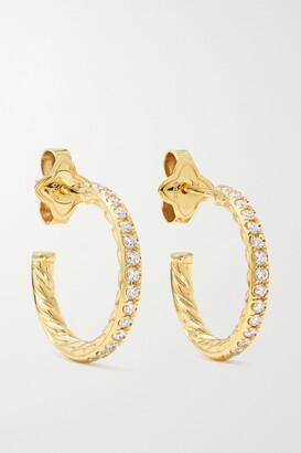 David Yurman 18-karat Gold Diamond Hoop Earrings - one size