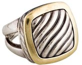 David Yurman Two-Tone Square Sculpted Cable Cocktail Ring