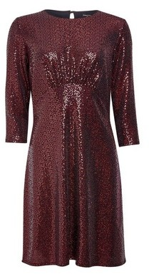 Dorothy Perkins Womens Red Sequin Empire Fit And Flare Dress, Red