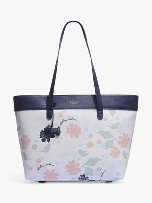 Radley Painterly Floral Large Shoulder Tote Bag, White/Multi