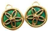 Tiffany & Co. Schlumberger Sand Dollar 18K Yellow Gold Green Enamel Earrings