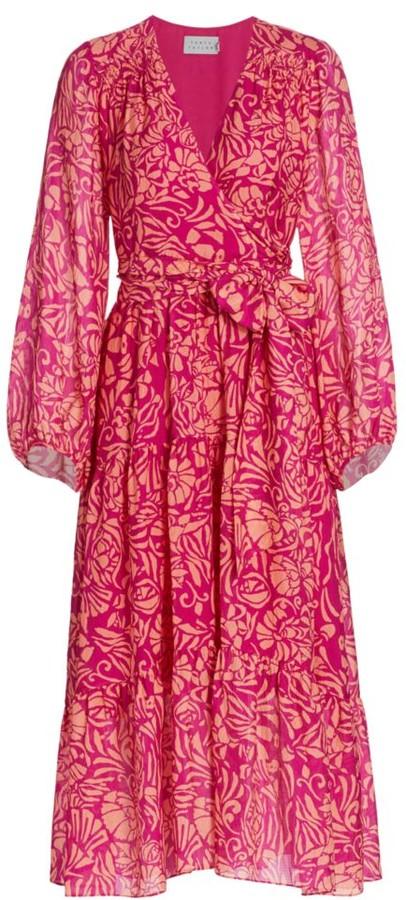 Tanya Taylor Liza Floral Print Silk Midi Wrap Dress