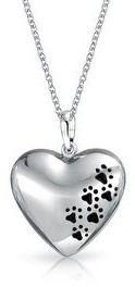 Bling Jewelry Dog Cat Puppy Black Paw Prints Heart Pendant Necklace Sterling Silver