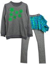 YJ.GWL Girls Long Sleeve Shirt and Plaid Irregular Skirt Sets 2pcs Clothing Sets(,110)