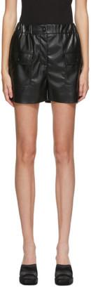 MSGM Black Faux-Leather Shorts