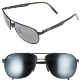 Maui Jim Men's 'Castles - Polarizedplus2' 61Mm Aviator Sunglasses - Matte Black
