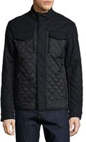 Michael Kors Mixed Media Quilted Flannel Jacket, Navy