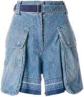 Sacai statement pockets denim shorts