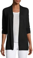 Joan Vass 3/4-Sleeve Open-Front Cardigan, Black