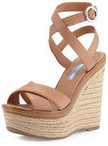 Prada Leather Ankle-Wrap Wedge Sandal, Naturale