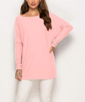 Suvimuga Women's Tunics Pink - Pink Long-Sleeve Boatneck Dolman Top - Women