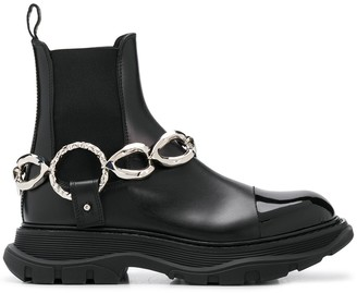 Alexander McQueen Chain-Detail Leather Ankle Boots
