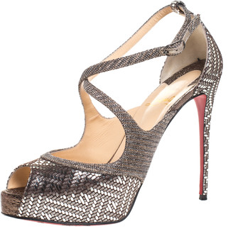 Christian Louboutin Silver Foil Leather And Glitter Fabric Mira Bella Cross Strap Sandals Size 37.5