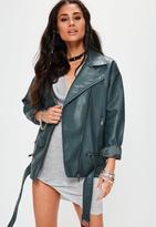 Missguided Green Boyfriend Faux Leather Biker Jacket