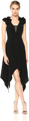 Halston Women's Sleeveless Ruffle Detail V Neck Handkerchief Dress