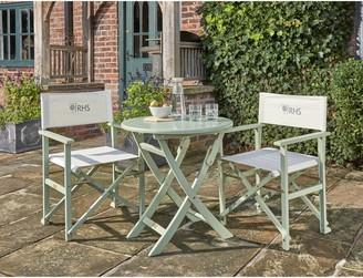 Kettler RHS Rosemoor 2-Seat Garden Bistro Table & Directors Chairs Set, FSC-Certified (Eucalyptus Wood), Sage