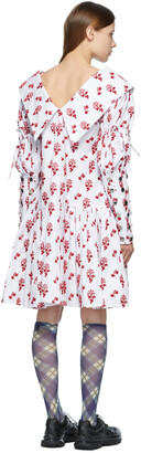 Chopova Lowena White & Red Flocked Pointed Collar Dress