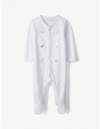 The Little White Company Safari-embroidered cotton sleepsuit 0-24 months